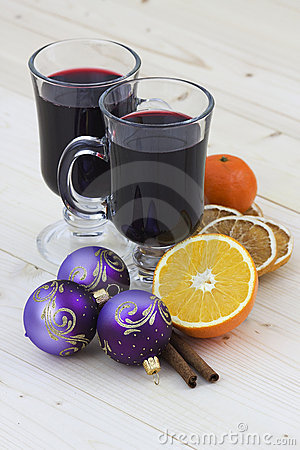 Hot wine and christmas decoration