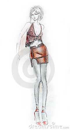 Hot Woman Fashion Illustration