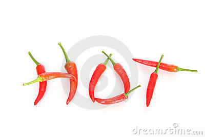 Hot written with red chili peppers