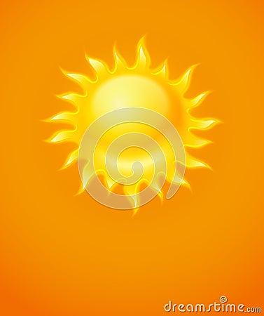 Hot yellow sun icon