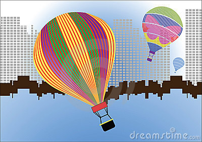 Hotair balloons over pixilated cityscape