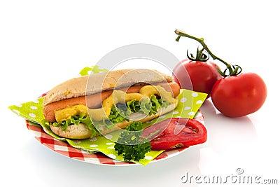 Hotdog with bread roll