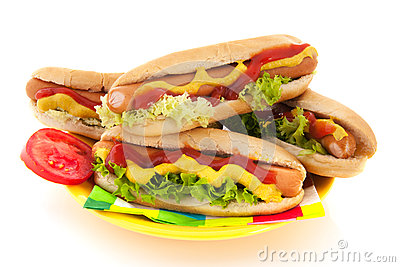 Hotdog with bread roll