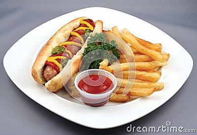 Hotdog with fries