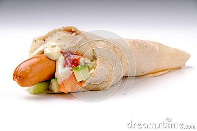 Hotdog with mashed potatoes