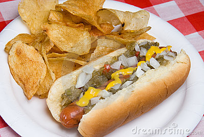 Hotdog and potato chips