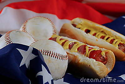 Hotdogs & Baseballs on an american flag