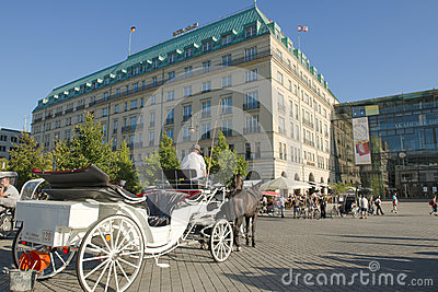 Hotel Adlon, Berlin, with horse-carriage Editorial Image