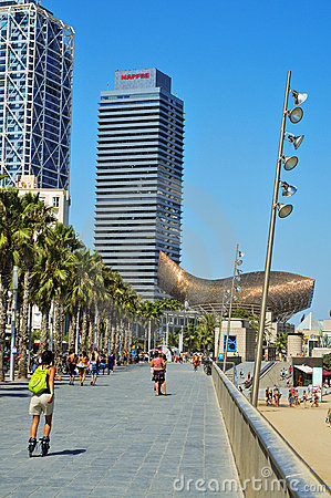 Hotel Arts and Torre Mapfre in Barcelona, Spain Editorial Stock Image