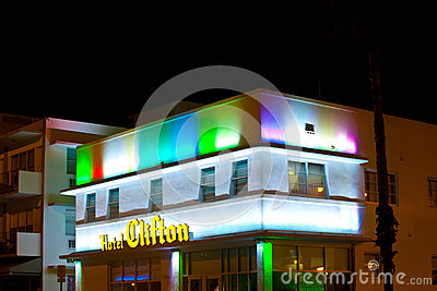 Hotel Clifton at the Ocean Drive in Miami Beach at night Editorial Image