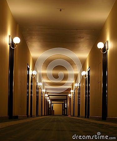 Hotel corridor perspective