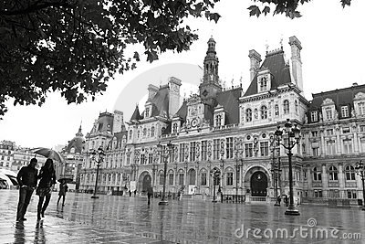 Hotel de Ville in Paris, France, Europe at the beg Editorial Stock Image