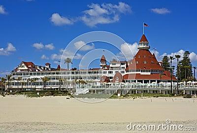 Hotel del Coronado with sand