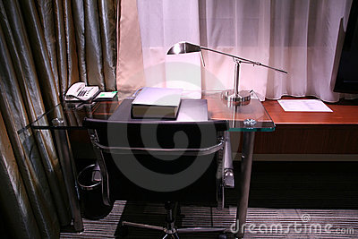 Hotel desk and reading lamp