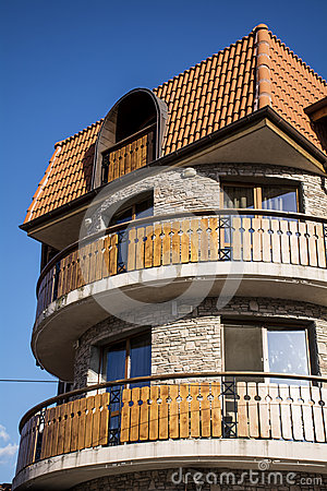 Hotel hotel with wooden balconies stock for Hotels with balconies