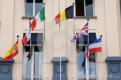 Hotel with flags