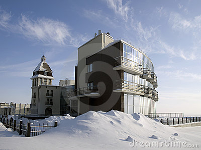 Hotel on the frozen lake shore