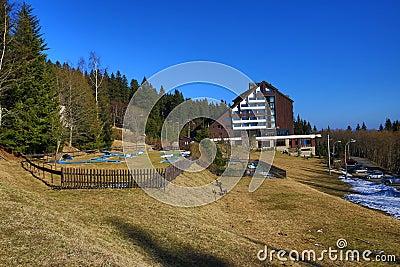 Hotel Horizont, Špičák, ski resort, Bohemian Forest (Šumava), Czech Republic Stock Photo