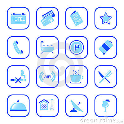 Hotel icons - Blue Series