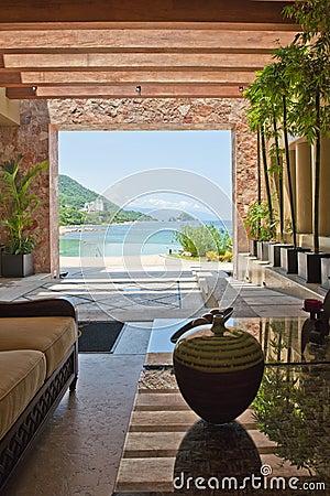 Hotel lobby overlooking ocean