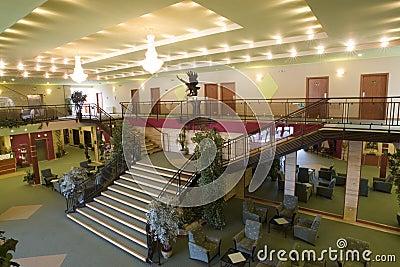 Hotel lobby and room area