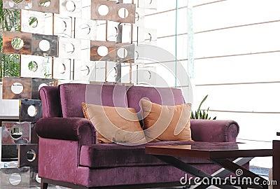 The hotel lobby sofa and tea table