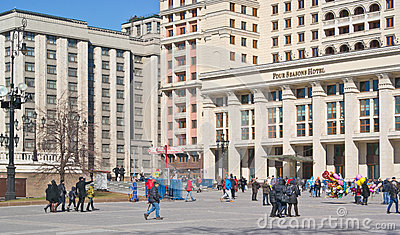 Hotel Moscow and the State Duma Editorial Photography