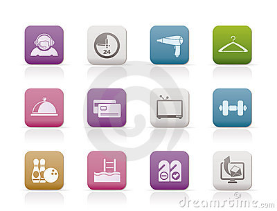 Hotel and motel amenity icons-