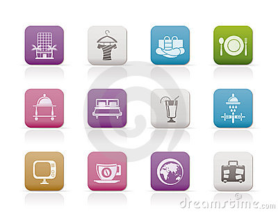 Hotel, motel and holidays icons