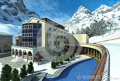 Hotel in mountain with snow and a pool.