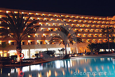 Hotel and pool at night