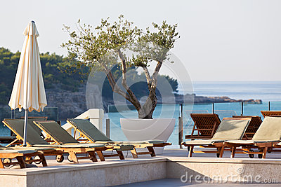 Hotel Poolside Chairs with Sea view