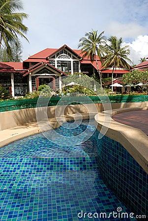 Hotel poolside thai architecture