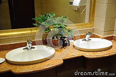 Hotel public toilet interior