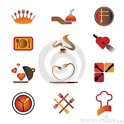 Hotel, resort and restaurant industry logo icons