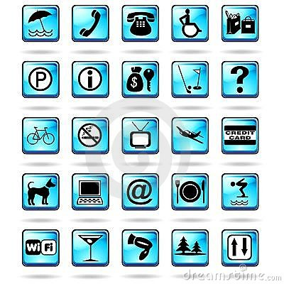 Hotel Resort Symbols Icons Blue