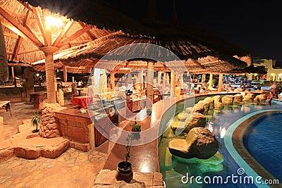 Hotel restaurant at night