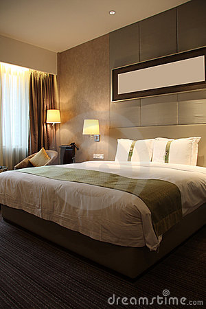 Hotel room or bedroom