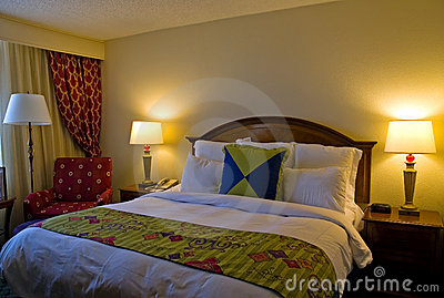 Hotel room with king sized bed