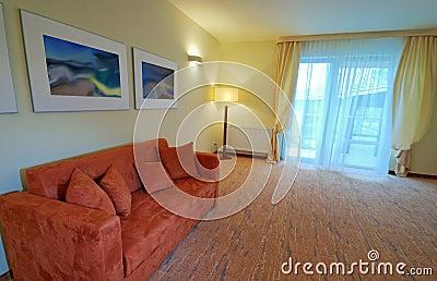 Hotel room sofa