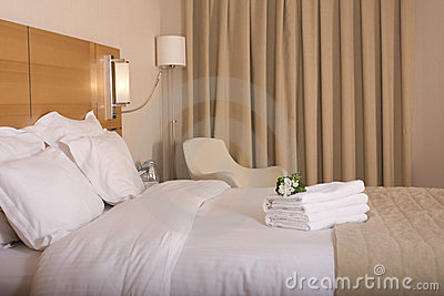 Hotel room and white flowers