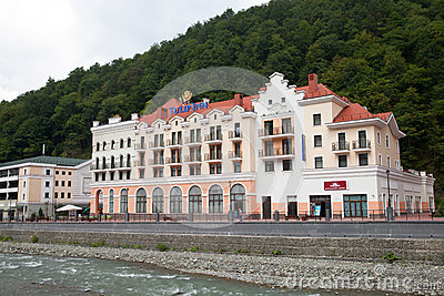Hotel on Rosa Khutor resort Editorial Stock Image