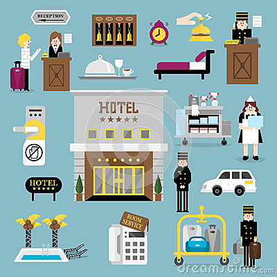 Free Hotel Service Set A Stock Images - 53217394