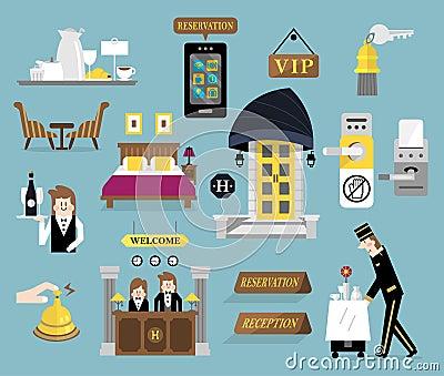 Hotel service set b stock illustration image 53228091 for Room design web app