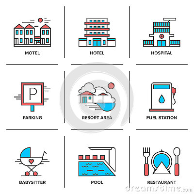 Free Hotel Services Line Icons Set Stock Photos - 45870983