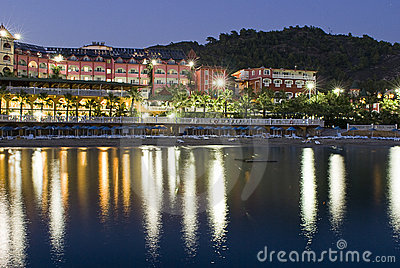 Hotel on shoreline at night