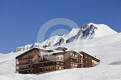 Hotel in snowy mountains