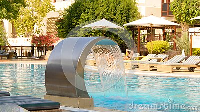 Hotel Swimming Pool With Water Fountain Free Public Domain Cc0 Image
