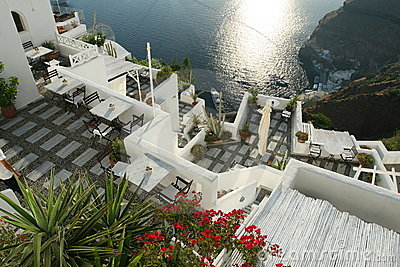 Hotel terrace in Santorini Greece