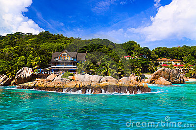 Hotel at tropical beach, La Digue, Seychelles